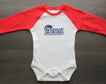 Patriots baby onesie, New England Patriots inspired baby raglan bodysuit, Patriots outfit