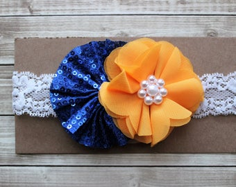 Golden State Warriors inspired baby headband, Michigan Wolverines girls bow, San Diego Chargers baby gift, royal blue and gold headband