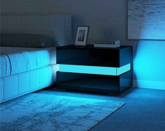 GLOWING Bedside table LED modern gamer furniture black or white! Free shipping