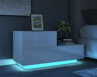 GLOWING High Gloss Gamer/Minimalist Bedside Table LED with Free Shipping