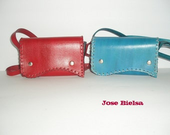 "Leather Mini Bag ""My first bag"" Messenger Crossbag Little girls bag handmade Red Blue Green"
