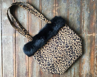 5e2894d044ac Vintage 90s Fuzzy Leopard Print Real Fur Trim Black and White Checkered  Lined Tote Shoulder Bag Purse