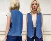 Vintage 70s Brittania Blue Jean Star Button Cinched Waist Gold Stitched Hippie Denim Vest M L