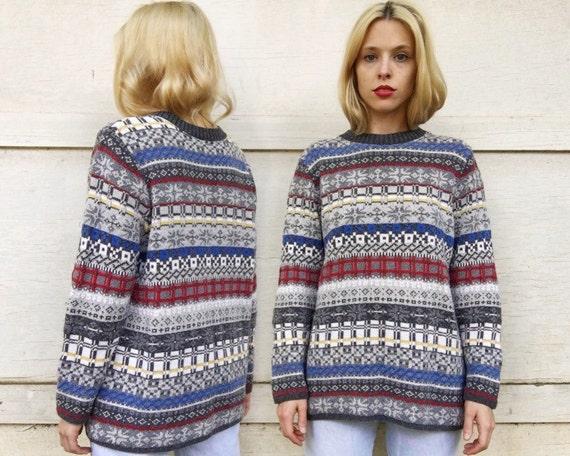 Vintage 80s Liz Sport Magenta Pink Purple  Blue Knit Oversized White Snowflake Winter Design Sweater M