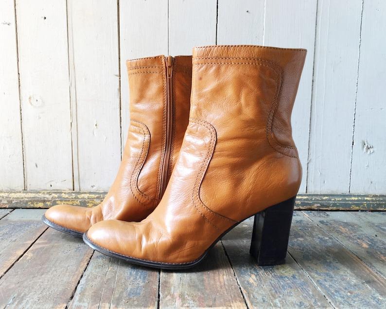 Vintage 90s Nine West Tan Brown Leather Side Zip Short Ankle High Heeled Boots 9.5