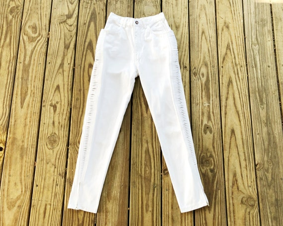 Vintage 80s 90s LA Gear High Waisted White Denim Accented Trim Tapered Jeans XS 24 x 27.5