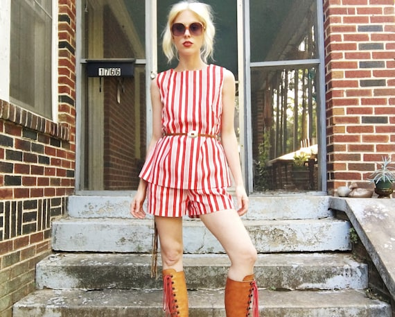 Vintage 60s Red White Candy Striped Sleevless Tank