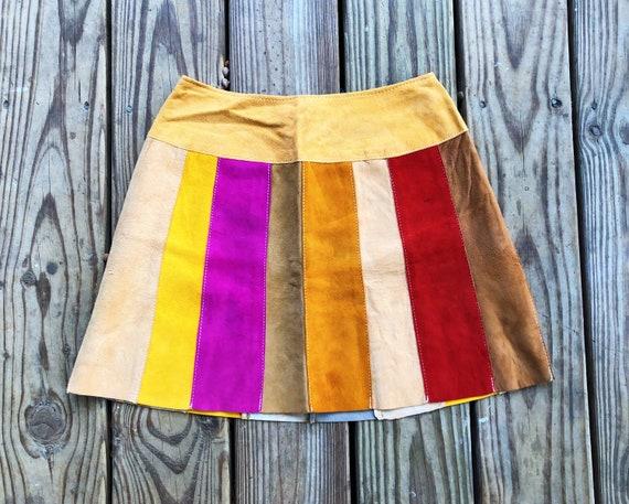 Vintage 60s Patchwork Suede Multicolor Rainbow Hig