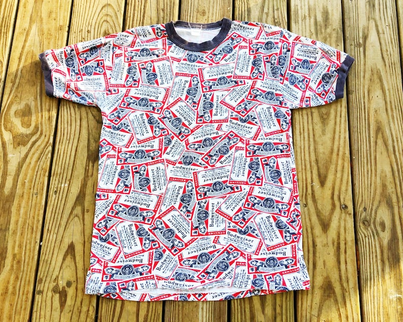 302d313e3b8bc Vintage 70s Budweiser King Of Beers Red White Blue Logo Allover Pattern  Short Sleeve Party Ringer Tee T-Shirt M
