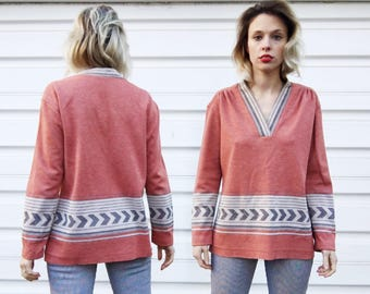 Vintage 60s Joan Curtis Union Made Pink Grey Patterned Oversized V Neck Long Sleeve Tunic Blouse Shirt S/M/L