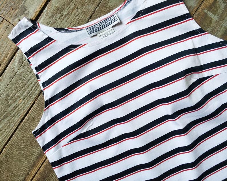 Vintage White Black Red Horizontal Striped Fancy Summer Tank Blouse Top S