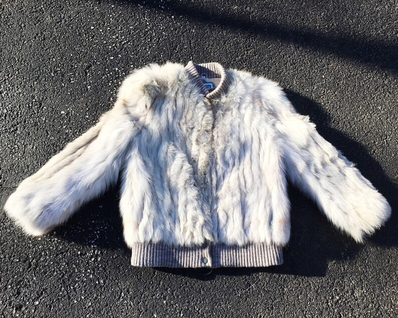 Vintage Saga Fox Fur Hollywood Glamour Long Sleeve Clasp Closure Snap Button Bomber Style Winter Coat M
