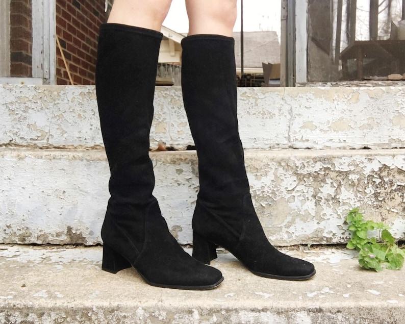 5feae783c49 Vintage 90s Stuart Weitzman Black Suede Leather Knee High