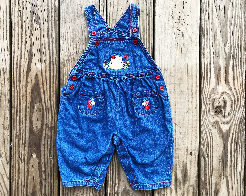 Vintage Overalls & Jumpsuits Vintage 90S Little Wonders Dark Blue Denim Red Flower Buttons Embroidered Floral Bunnies Basket One Piece Onesie Overalls Playsuit 6-9 Mos $0.00 AT vintagedancer.com