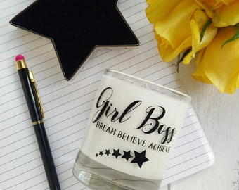 Girl Boss Candle Gift, office decor, new job gift, desk accessory, dream believe achieve slogan, gift for her, valentines gift