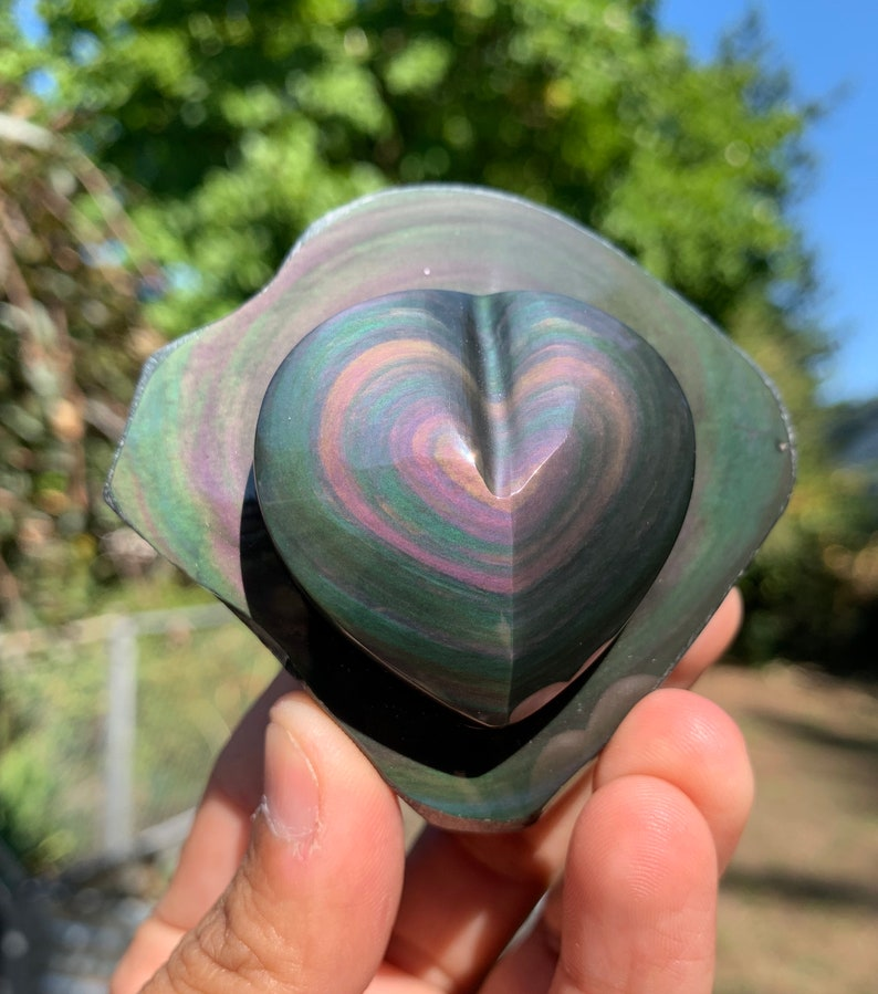 Top grade Rainbow Obsidian heart image 0
