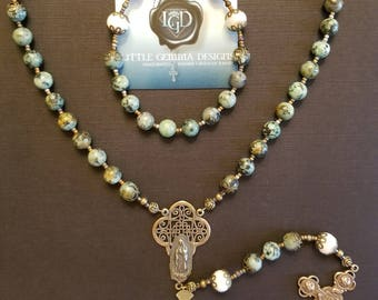OUR LADY of GUADALUPE RoSARY- Genuine Natural African Turquoise-One of a Kind-Pro-Life Rosary-True Solid Bronze