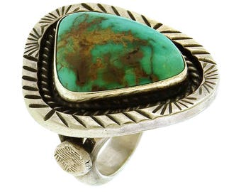 Sterling silver cabochon turquoise Navajo ring