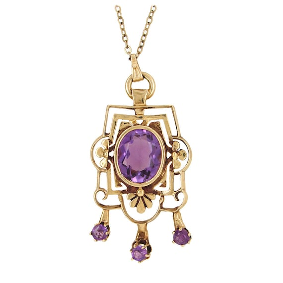 14K yellow gold Art Nouveau amethyst pendant on ch