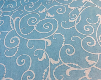 SWIRL BLUE Sewing Crafting Quilting Cotton Fabric Metallic Christmas SPARKLE
