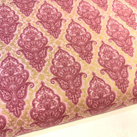 Pink Brocade Fabric Pink And Gold Pink And Gold Damask Etsy