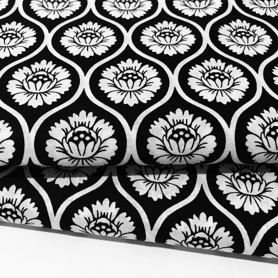 Black and White Lotus Flower Fabric Floral Black and White | Etsy