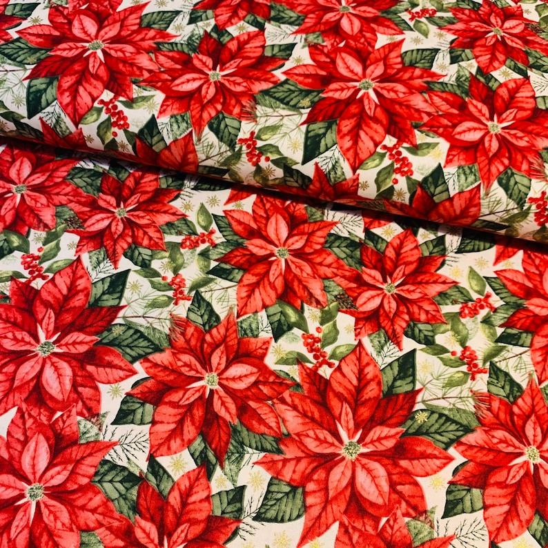 Christmas Floral Fabric Poinsettia Fabric Christmas Cotton Fabric Metallic Gold Poinsettia Quilting Cotton