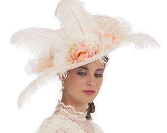 3a868983104 H150701 Ivory and Peach Edwardian Hat