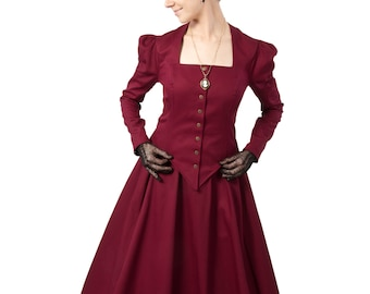 3507-8 Victorian inspired twill jacket with matching skirt