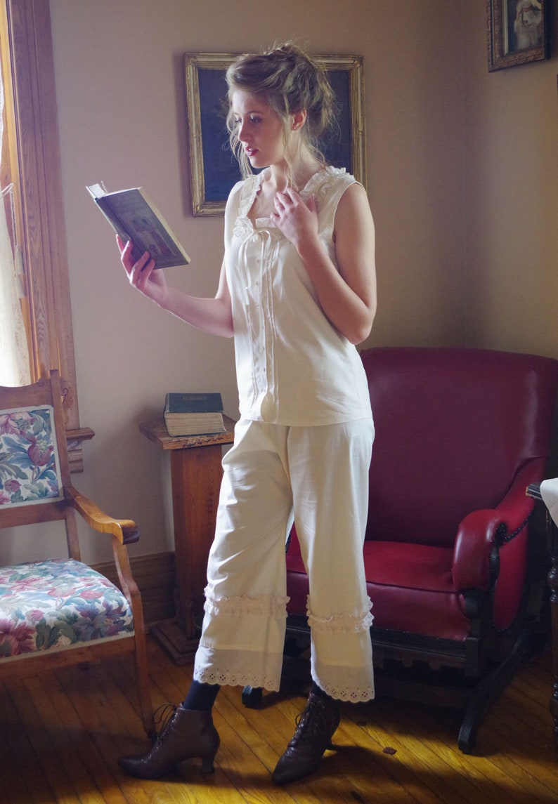 Cottagecore Clothing, Soft Aesthetic Hedy Victorian Camisole and Pantaloons $119.95 AT vintagedancer.com