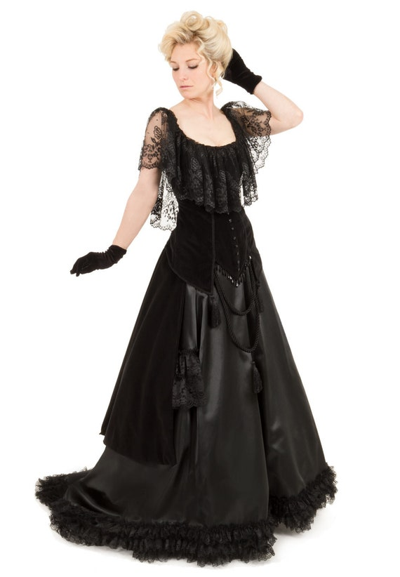Edwardian Ladies Clothing – 1900, 1910s, Titanic Era 1900 Countess Lucia Victorian Bustle Dress $329.96 AT vintagedancer.com