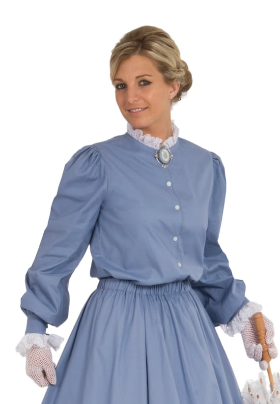 Victorian Blouses, Tops, Shirts, Vests Victorian Cotton Blouse $60.00 AT vintagedancer.com
