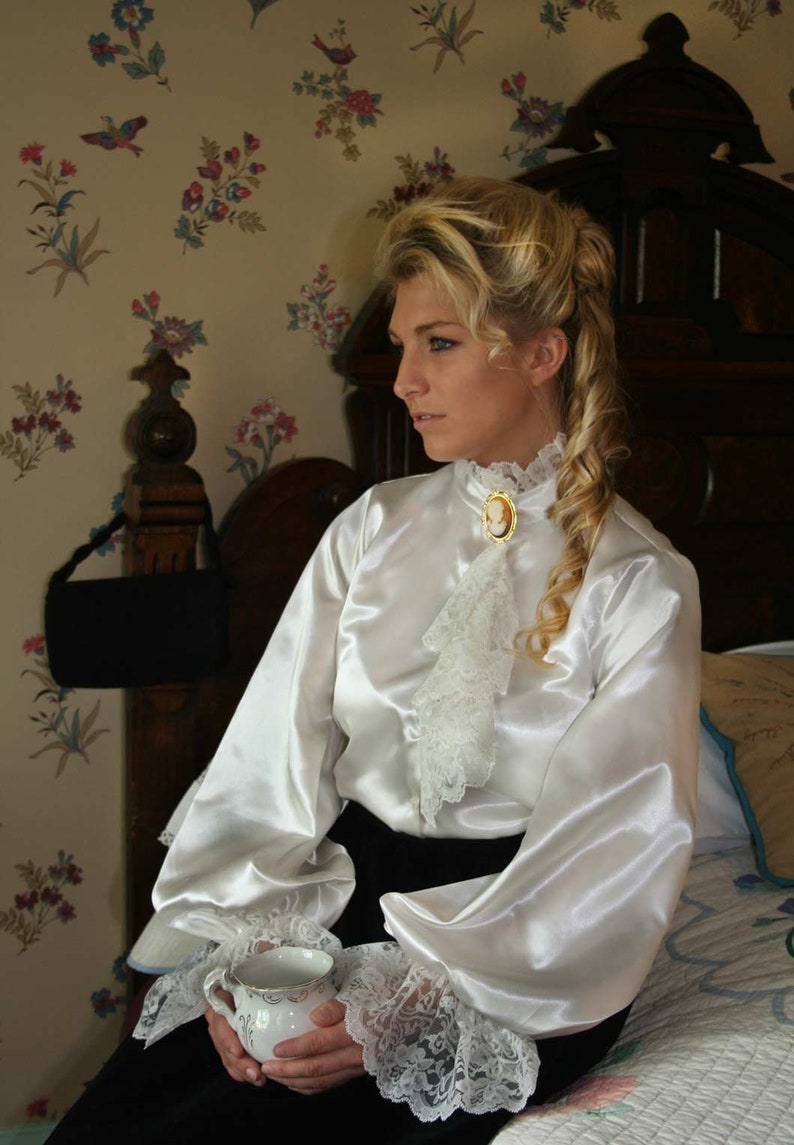 Edwardian Blouses |  Lace Blouses & Sweaters 110612 Madalina Victorian Blouse $89.95 AT vintagedancer.com