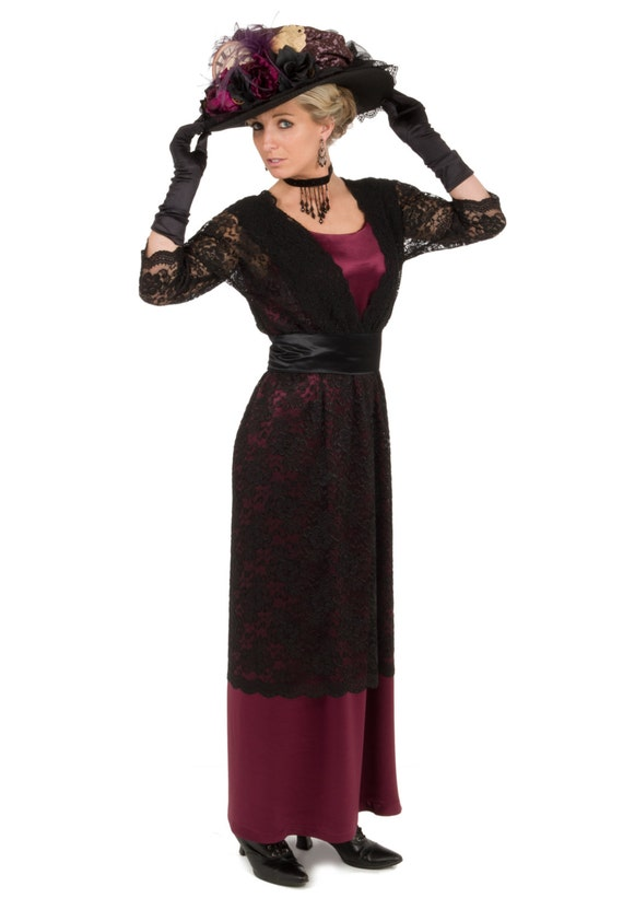 Old Fashioned Dresses | Old Dress Styles Mercedes Satin Edwardian Era Dress $149.96 AT vintagedancer.com