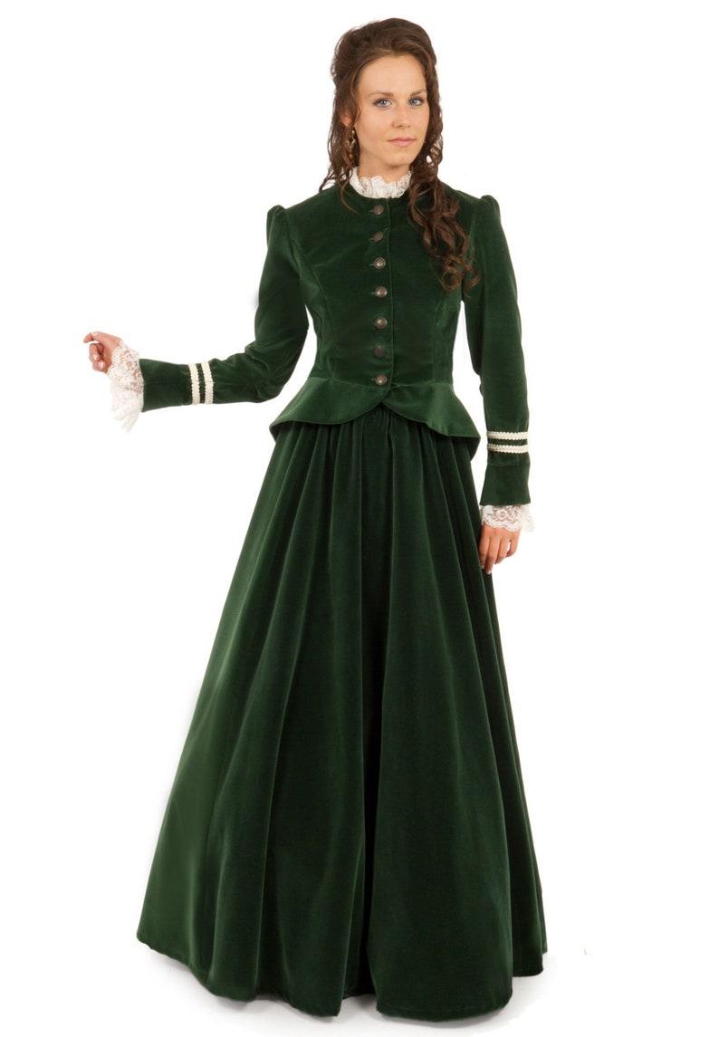 Victorian Dresses | Victorian Ballgowns | Victorian Clothing     Read the full title    Iris Victorian Velvet Suit $299.95 AT vintagedancer.com