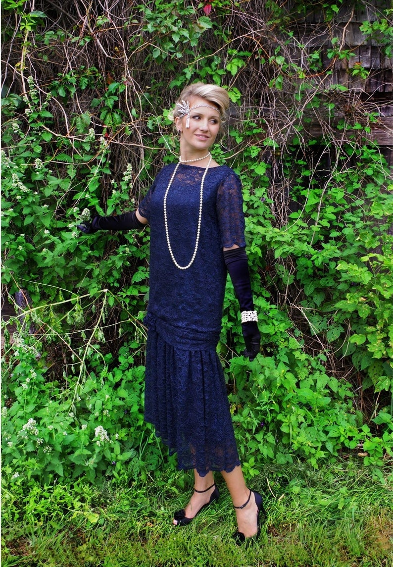 1920s Day Dresses, Tea Dresses, Mature Dresses with Sleeves 191145 Zelda Roaring 20s Navy Sequin Flapper Dress $229.95 AT vintagedancer.com