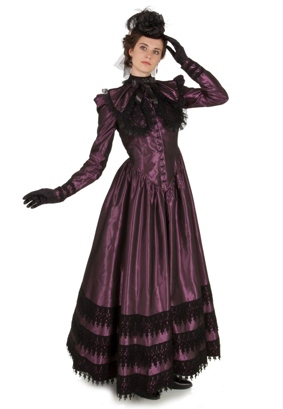 Vintage Tea Dresses, Floral Tea Dresses, Tea Length Dresses Desidera Victorian Gown and Collar $210.00 AT vintagedancer.com
