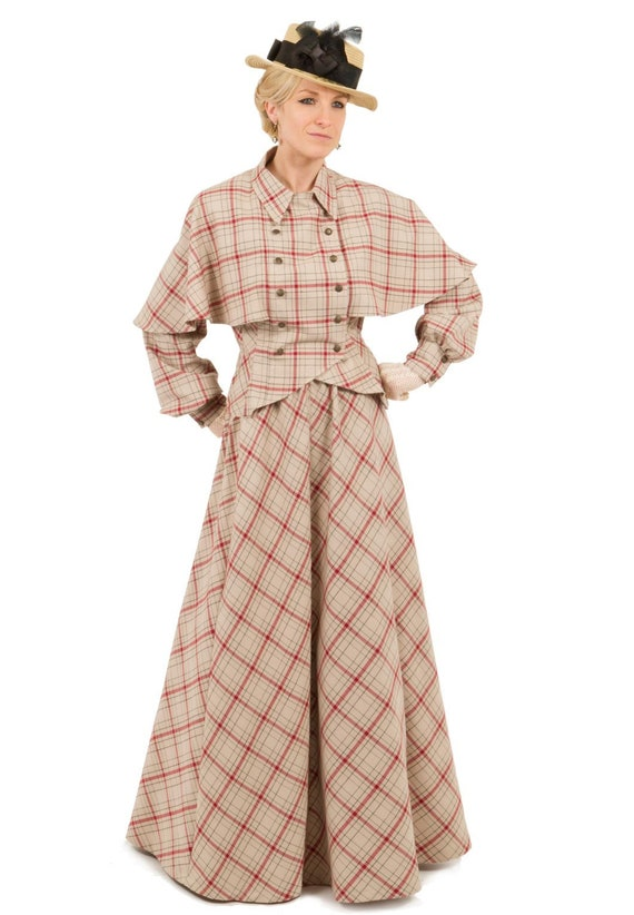 Victorian Dresses, Clothing: Patterns, Costumes, Custom Dresses Victorian Plaid Cape Jacket and Skirt $239.95 AT vintagedancer.com