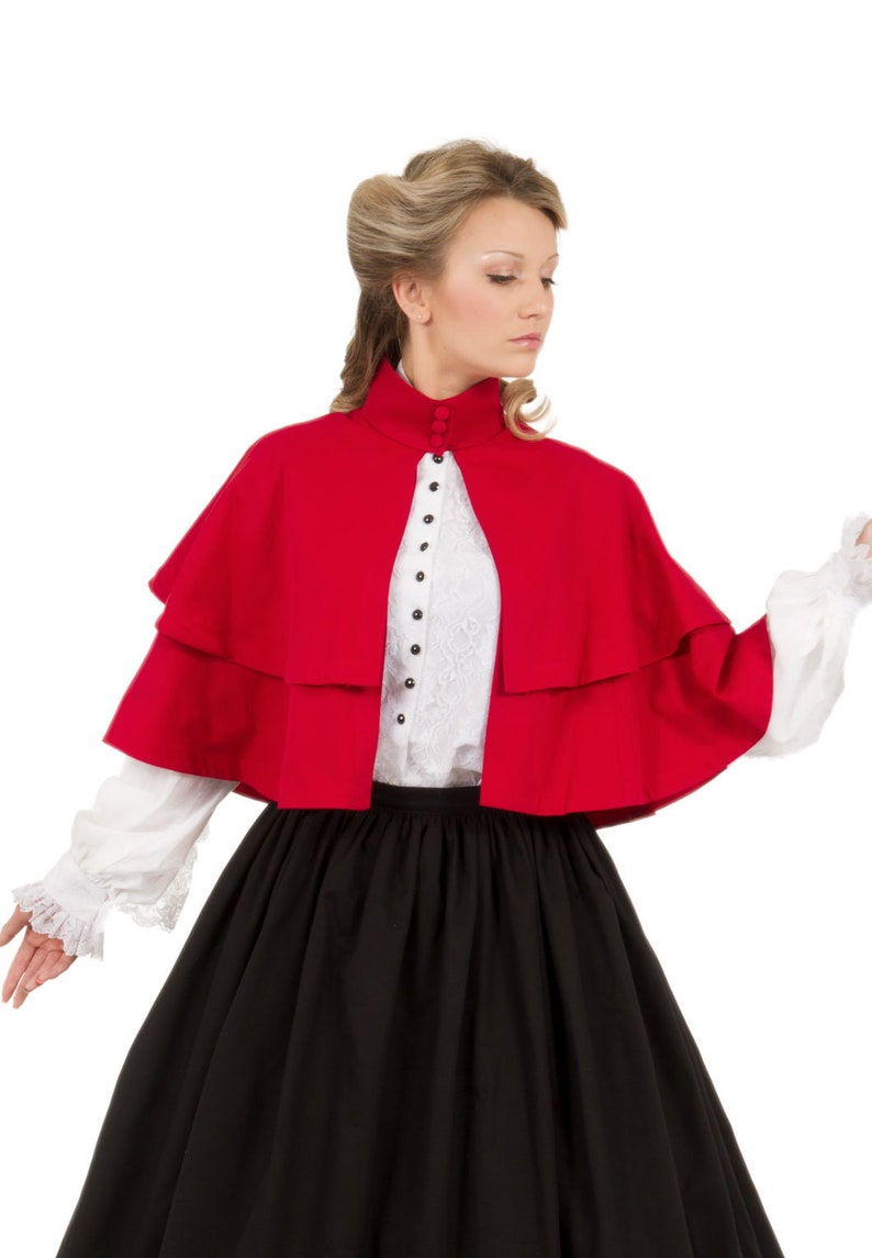 Victorian Clothing, Costumes & 1800s Fashion Double Tiered Cape $99.95 AT vintagedancer.com
