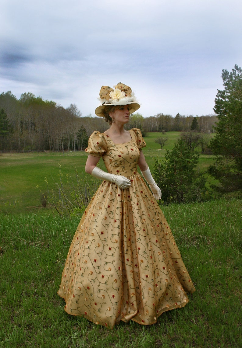 80s Dresses | Casual to Party Dresses 190644 Tuscany Victorian Silk Organza Ball Gown $289.95 AT vintagedancer.com