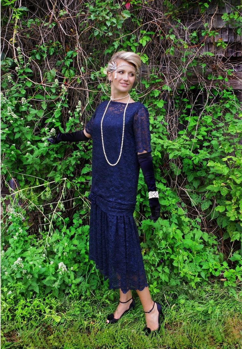 1920s Style Dresses, 20s Dresses Zelda Roaring 20s Navy Sequin Flapper Dress $229.95 AT vintagedancer.com