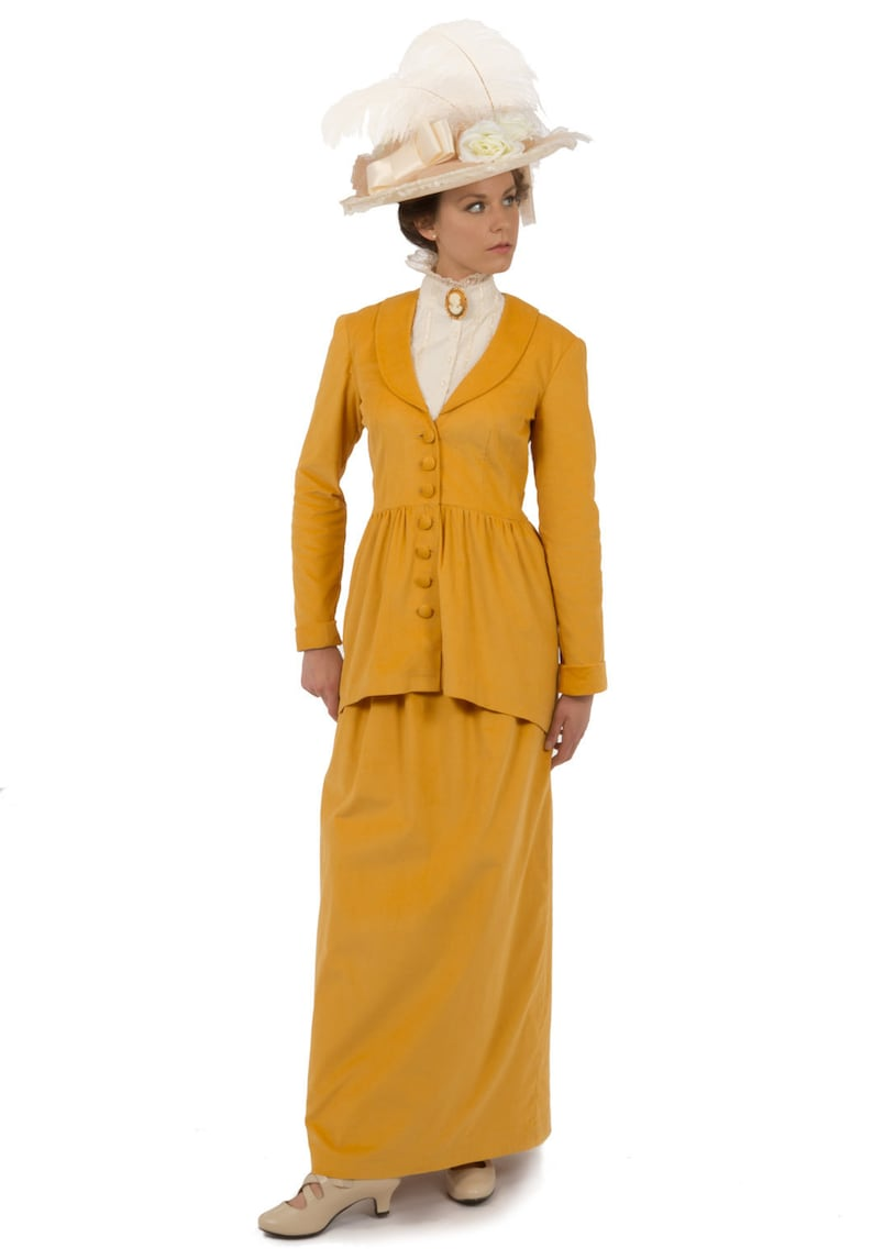 Vintage Tea Dresses, Floral Tea Dresses, Tea Length Dresses Edwardian Corduroy Ensemble $249.95 AT vintagedancer.com
