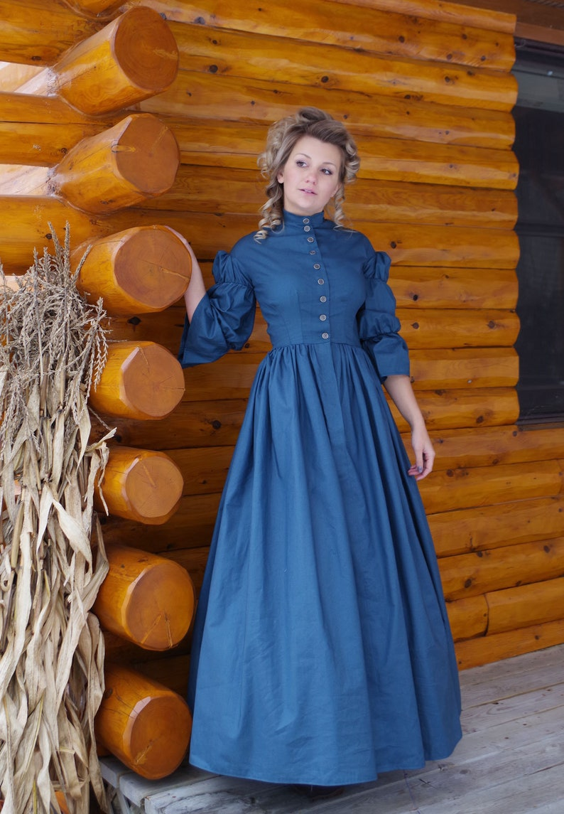 Victorian Clothing, Costumes & 1800s Fashion Civil War Styled Cotton Dress $179.95 AT vintagedancer.com