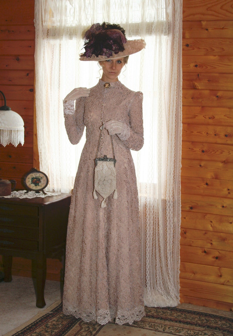 1920s Outfit Ideas: 10 Downton Abbey Inspired Costumes Antique Dusk Edwardian Gown $329.95 AT vintagedancer.com