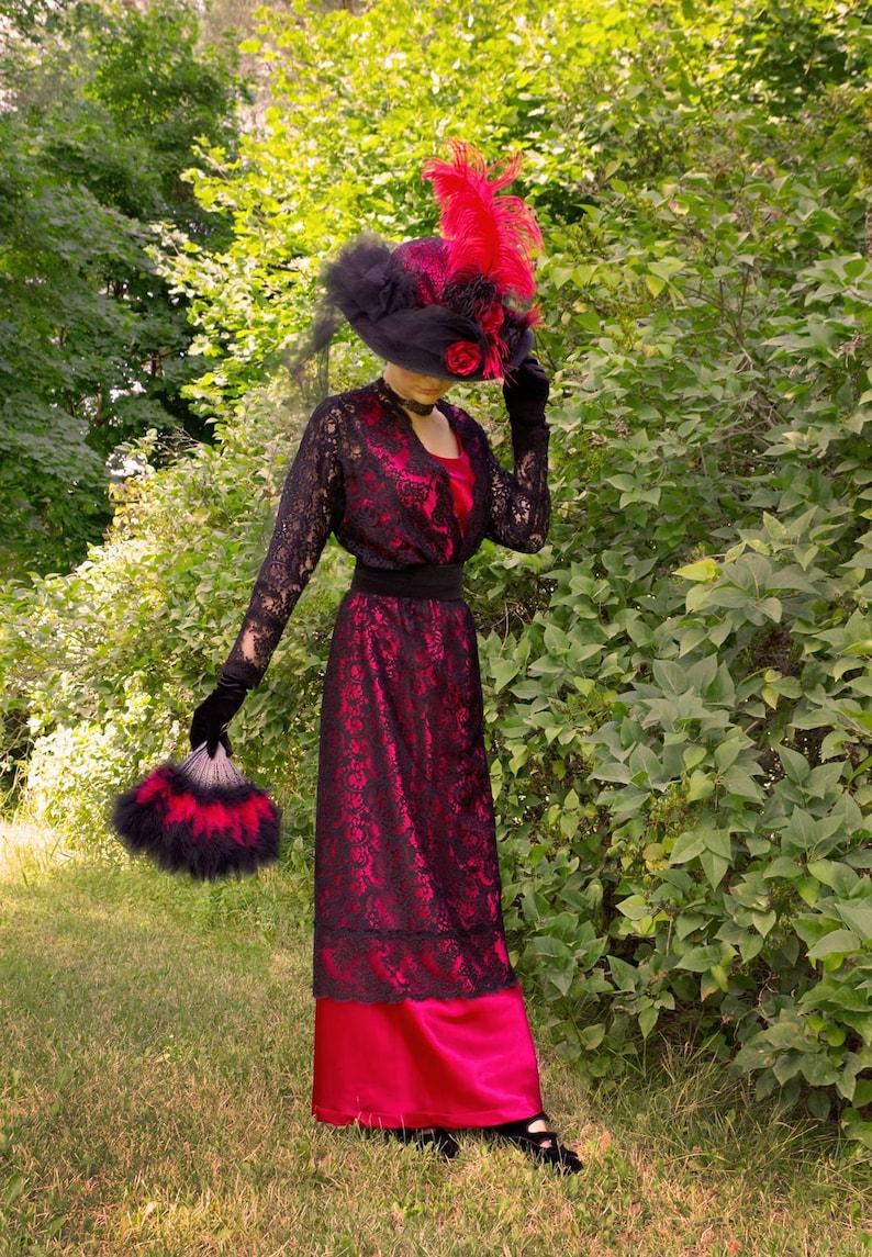 1900 -1910s Edwardian Fashion, Clothing & Costumes Mercedes Satin Edwardian Era Dress $149.96 AT vintagedancer.com