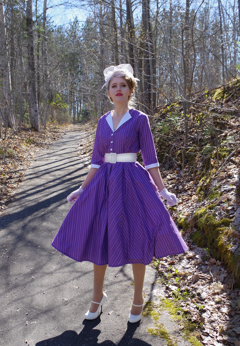 Pin Up Girl Costumes | Pin Up Costumes Bette Retro Swing 1950s Dress $139.94 AT vintagedancer.com