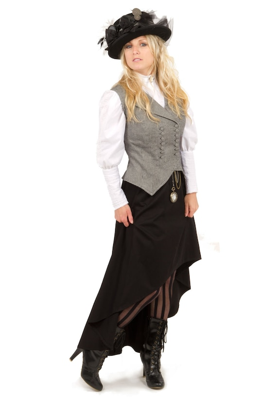Victorian Skirts | Bustle, Walking, Edwardian Skirts Victorian Steampunk Vest Skirt and Blouse $187.00 AT vintagedancer.com