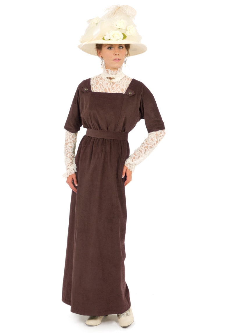 1900 Edwardian Dresses, Tea Party Dresses, White Lace Dresses Edwardian Corduroy Jumper and Blouse $229.95 AT vintagedancer.com