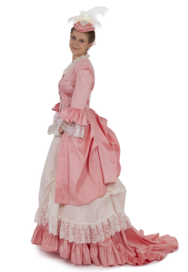 Victorian Costumes: Dresses, Saloon Girls, Southern Belle, Witch Perla Victorian Polonaise Bustle Dress $375.96 AT vintagedancer.com