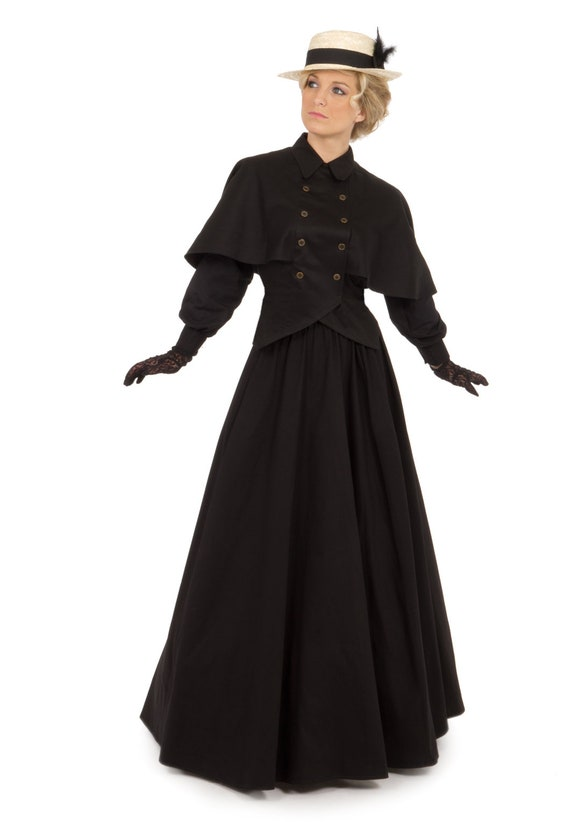Steampunk Dresses | Women & Girl Costumes Edwardian Twill Cape Blouse and Skirt $157.46 AT vintagedancer.com